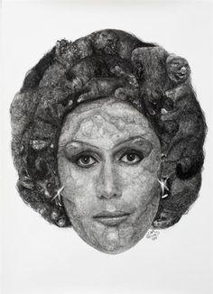Dame Kiri Te Kanawa made out of Tuatara and Dead Possums Kiri Te Kanawa, Art Inspo, Making Out, Pencil, Ink, Artist, Artists, India Ink