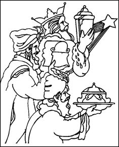 the three magi with offerings to the child jesus coloring page