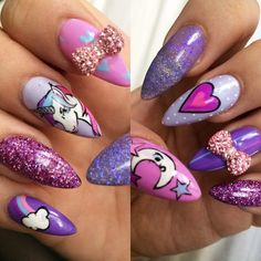 kandiyamz on elizabethmmakeup Diy Unicorn, Unicorn Nail Art, Unicorn Makeup, Cute Nail Art, Cute Nails, Pretty Nails, Purple Nails, Bling Nails, Stiletto Nails