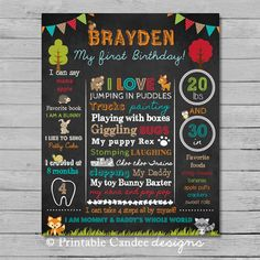 Woodland First Birthday Chalkboard Sign - Forest Friends Chalkboard Sign - Milestone Sign - Printable Stats Sign - 1st Birthday Custom Board on Etsy, $15.00