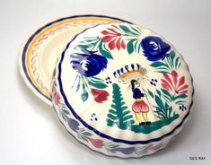 Butter or Cheese Dish French France HB Quimper Faience era Henriot Votive Candle Holders, Votive Candles, Glass Necklace, Pendant Earrings, Ceramic Pottery, Pottery Art, Quimper Pottery, Vintage Box, Butter Dish