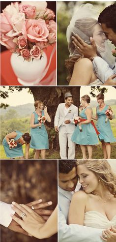 love the aqua/red dresses and the guys suit