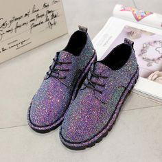 Осень-весна Bling Блестки тонкие туфли на плоской подошве обувь на шнуровке женская обувь для отдыха Мода 2017 г. для леди