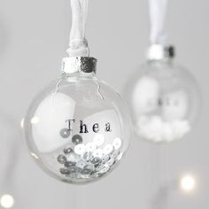 Personalised Glass Bauble With Sequins - stamped with Staz-on?