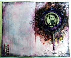Scraps Of Darkness Scrapbook kits: mixed media art journal page using the blush kit by Denisa