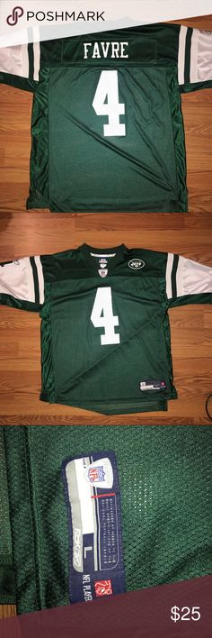 Throwback Reebok Jets Brett Favre Football Jersey For sale is a lightly worn Reebok Jets Brett Favre jersey. Good condition. Size Large Reebok Shirts