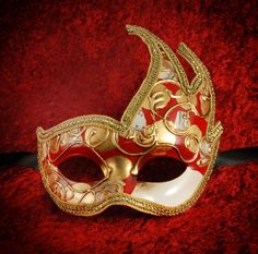Venetian Cigno Mask-RED ND GOLD