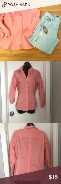 🆕Listing Peach New York & Company Button Down Gorgeous button down perfect paired with jeans or work slacks. Get it in your closet while you can. 60% cotton, 35% polyester 5% spandex New York & Company Tops Button Down Shirts