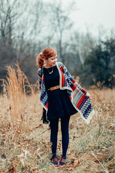 aztec sweater layered over a dress. fall/winter The Clothes Horse: outfits