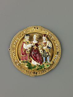 Hat Ornament: Woman Choosing Between Youth and Old Age  French  Date: ca. 1520 Medium: Gold, gold filigree and enamel