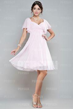 Attractive A-line Sweetheart Cap Sleeve Chiffon Knee Length Bridesmaid Dress