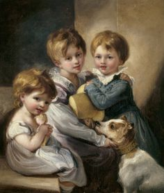 White dresses for the girls and blue outfit for the boy. 1823 Mary Elizabeth Elton (1816-1840), Jane Octavia Elton (1821-1896) and Arthur Hallam Elton later Sir Arthur Hallam Elton, 7th Bt MP (1818-1883). Thomas Barker