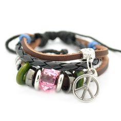 fun mutilcolored charm leather bracelet