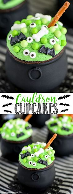 Cauldron Cupcakes -Hosting a Halloween party this year or need a cute and easy treat idea? These Cauldron Cupcakes are perfect for parties and easy to make with kids.