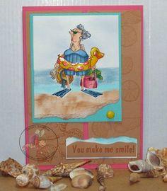 Blanche (Sku#K1605) Art Impressions Golden Oldies beach themed card.