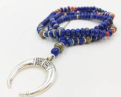 Men Mala Necklace Natural Lapis Lazuli Bull's Horn