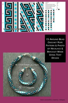 15 around bead crochet rope pattern and a photo showing what the completed necklace & bracelet looks like. I did not create the pattern or jewellery. I simply put the two together as I find it useful to see the finished piece next to the pattern when choo Crochet Bracelet Pattern, Crochet Beaded Necklace, Bead Crochet Patterns, Bead Crochet Rope, Beaded Bracelet Patterns, Beading Patterns, Beaded Crochet, Beading Tutorials, Diy Jewelry