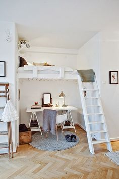 bed in closet, desk below.  build closet space around window to create window seat.