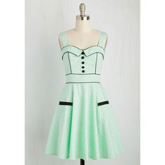 Pinup Mid-length Sleeveless Fit & Flare Heps and Dreams Dress (95 AUD) ❤ liked on Polyvore featuring dresses, mint, apparel, fashion dress, green sparkly dress, green sleeveless dress, sparkly dresses, mint dress and fit and flare dress