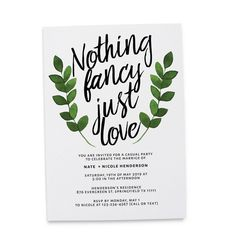 Nothing Fancy Just Love elopement wedding reception invitation cards that you will love. Great for a casual party invitation