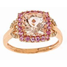 <li>Morganite, sapphire and diamond ring</li><li>10k rose gold jewelry</li><li><a href='http://www.overstock.com/downloads/pdf/2010_RingSizing.pdf'><span class='links'>Click here for ring sizing guide</span></a></li>