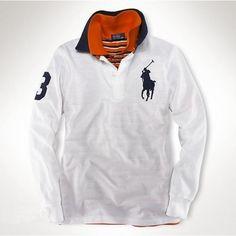 Ralph Lauren Men's White Grey Big Pony Polo