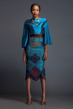 Azure cropped 'Kimo-Buba' and Azure pencil skirt. Skirt is patterned with Komole Kandids Clover motif.