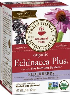 Traditional Medicinals Organic Echinacea Elder Herbal Tea, 16-Count Wrapped Tea Bags (Pack of 6) - http://goodvibeorganics.com/traditional-medicinals-organic-echinacea-elder-herbal-tea-16-count-wrapped-tea-bags-pack-of-6/