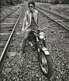 Bruce Springsteen back in the day on his trusty Triumph TR6 Trophy motorcycle.
