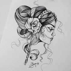 Resultado de imagem para caveira mexicana desenho artistico