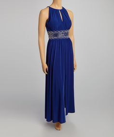 This Royal Blue Beaded Keyhole Gown - Petite by R&M Richards is perfect! #zulilyfinds