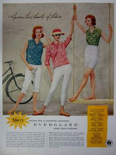 1959 Macy's Everglaze Easy Care Cottons Vintage Advertisement by RelicEclectic on Etsy #RelicEclectic #VintageAd #Macys #BedroomWallArt #WomensFashion
