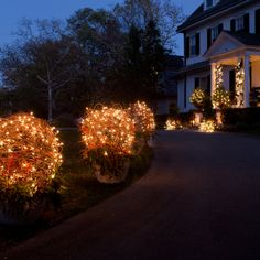 Welcome home. Our Terrain-designed sphere hanging baskets lit up to line the drive.