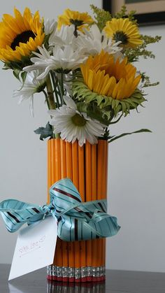 Teacher appreciation week! Or use colored pencils...each student brings a long stemmed flower that day!