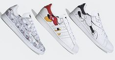 Adidas Shoes OFF!>> Photos of a new Disney x adidas Originals Mickey Mouse Collection has surfaced the Internet and each pair features its own unique style. Adidas Originals, Disney Merch, Mickey Mouse Shoes, Collection Disney, Original Mickey Mouse, Stan Smith Shoes, Black And White Comics, Popular Sneakers, Custom Shoes