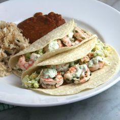 Grilled Cilantro-Lime Shrimp Tacos with Cabbage-Corn Slaw & Roasted Jalapeno-Avocado Crema.