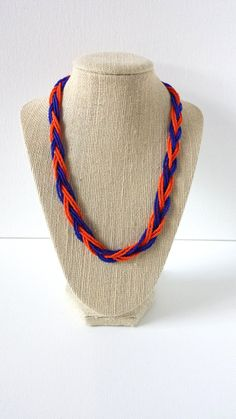 Blue and orange necklace, florida gators necklace, new york mets necklace, seed bead necklace,detroit tigers necklace, chicago bears,broncos...