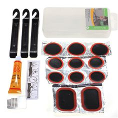 Bicycle Flat Tire Tyre Repair Kit Tool Set Cycling Patch Rubber Portable fill Bike accessories with box case Outdoor Sports