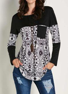 Black Long Sleeve Patchwork Printed T Shirt | Rotita.com - USD $24.53