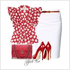 CHATA'S DAILY TIP: This classic white pencil skirt is certainly a wardrobe must-have for the working women. It will work well with most summery tops. A style tip is to ensure you combine summer fabrics with summer fabrics. This chiffon blouse, in a striking red and white spot, works well with white summery bottoms – be it a skirt or pant. COPY CREDIT: Chata Romano Image Consultant Wendy Hind http://chataromano.com/consultant/wendy-hind-2/ IMAGE CREDIT: Stylish Guru's Facebook page