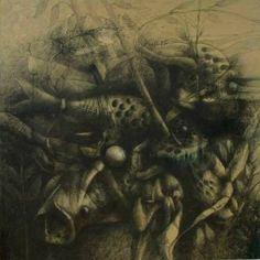 Obra del artista Jesús ovalles, Grafito sobre lienzo, obra exhibida y vendida en Bahía Redonda Gallery, ubicada en la marina internacional  Bahía Redonda, local 26, estado Anzoátegui, Venezuela