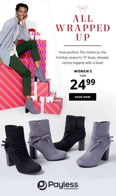 """The Valencia is this holiday season's """"it"""" boot! Block Heel Boots, Block Heels, Elite Clothing, Project Runway, Christian Siriano, Valencia, Shop Now, Seasons, Celebrities"""