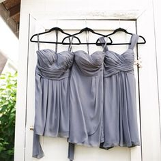 Bill Levkoff Pewter Bridesmaid Dresses
