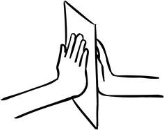 Sheet of paper held between two hands, as featured in team-building exercise called Paper Holding game