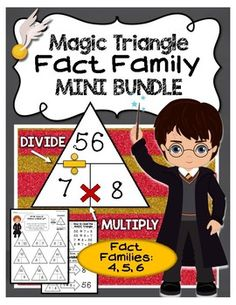 Your favorite magical wizards and witches make fact family practice spell-binding with the MAGIC triangle! Students will learn the relationship between numbers that make a fact family. Included in this bundle are: - Instructions of how to use the MAGIC triangle- Two triangle practice sheets for 4, 5, 6 fact families- One equation building practice sheet for 4, 5, 6 fact families- Answer keys to all practice sheets- Science connection sheetFOR MORE PRODUCTS LIKE THIS: Magic Triangle Fact…