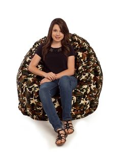 Our fur bean bag chairs are fully washable and come in a variety of colors and patterns. These soft chairs are available in small and large sizes. Fur Bean Bag, Large Bean Bag Chairs, Soft Chair, Camo, Design, Fashion, Camouflage, Moda, Fashion Styles