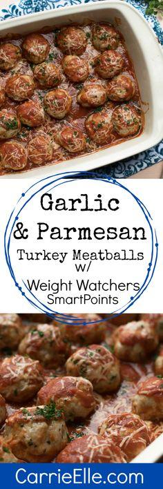 21 Day Fix Garlic Parmesan Turkey Meatballs (with Weight Watchers Points - Keto-friendly!) - Carrie Elle