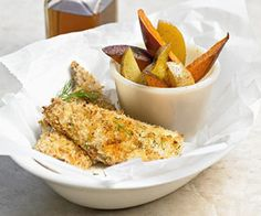 Catfish 'N' Chips Try this healthy and delicious spin on classic fish and chips. Catfish fillets are covered in panko crumbs and served with delicious Yukon gold potatoes.