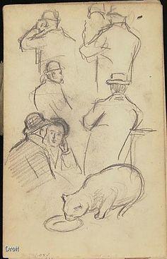 Edmond-Joseph Massicotte, Études de personnages et étude de chat, 1906. Mine de plomb sur papier, 21,8 x 13,6 cm. Collection MNBAQ #mnbaq #MuseumCats