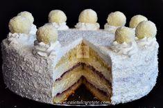 Tort Raffaello cu zmeura - CAIETUL CU RETETE Best Cake Flavours, Cake Flavors, Cake Recipes, Dessert Recipes, Desserts, Romanian Food, Food Cakes, Cheesecake, Food And Drink